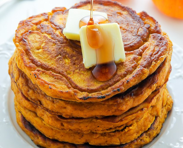 Pumpkin Pancakes with Homemade Maple Syrup
