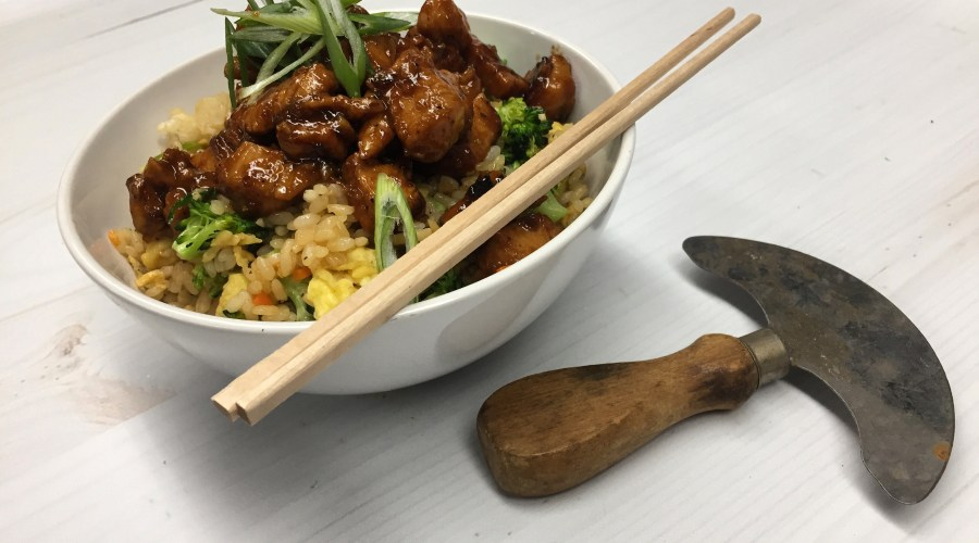 Sticky Chicken and Fried Rice