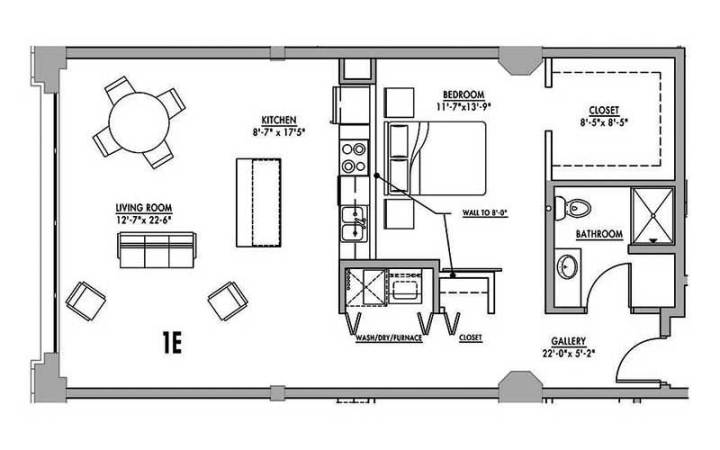 One bedroom floor plans with loft for 720 sq ft apartment floor plan