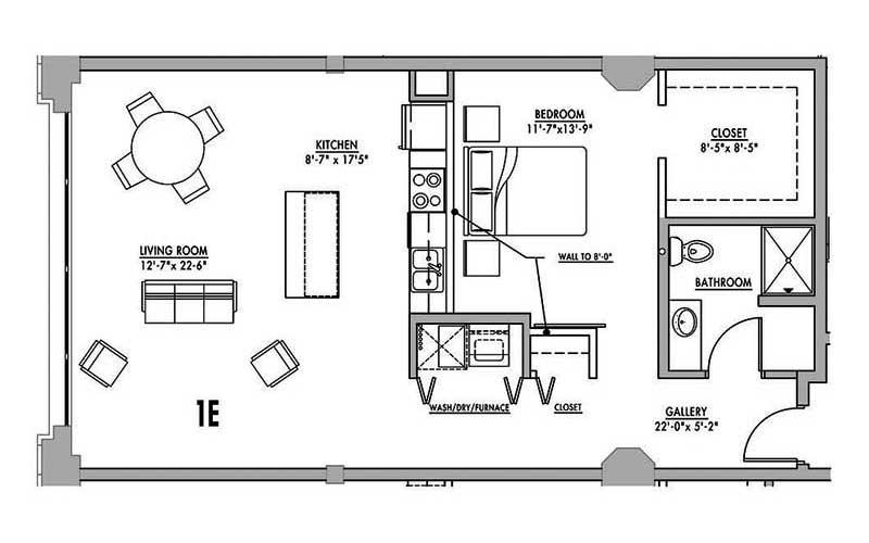 1 bedroom floor plans for One bedroom loft floor plans
