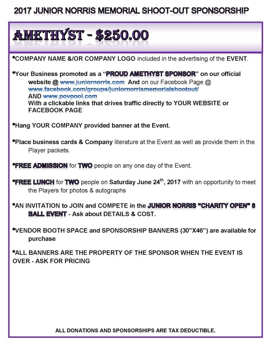 Sponsorship Packages  Junior Norris Ball Shootout