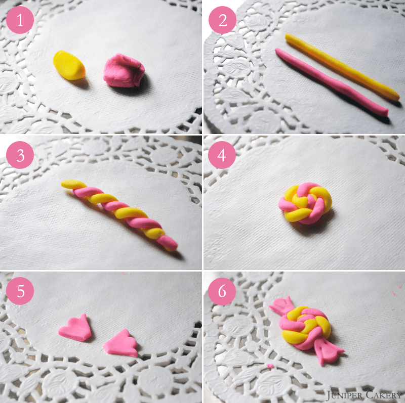 How to make fondant candy cake toppers by Juniper Cakery