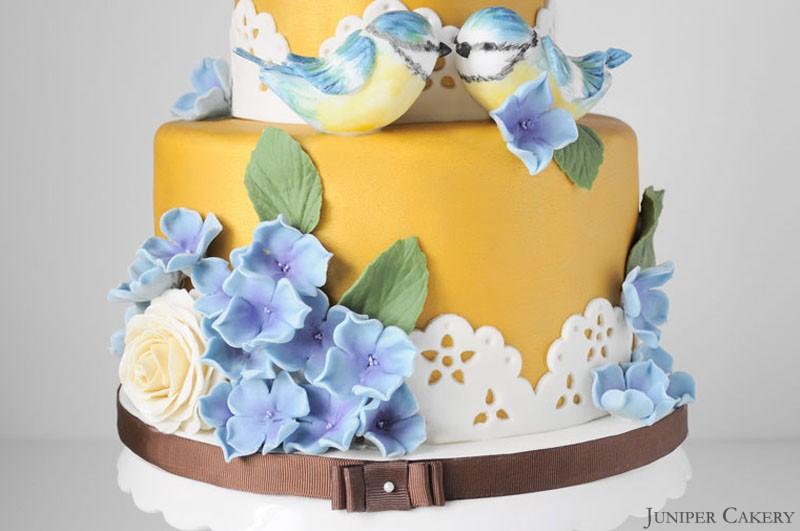 Golden Blue Tits Wedding Cake