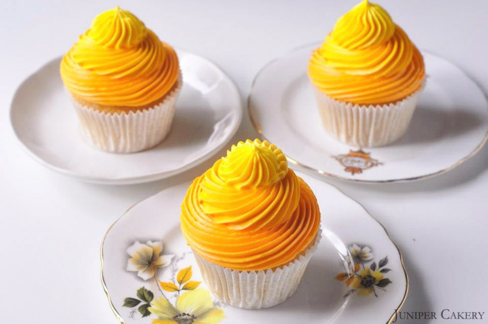 Lemon and Passion Fruit cupcakes by Juniper Cakery