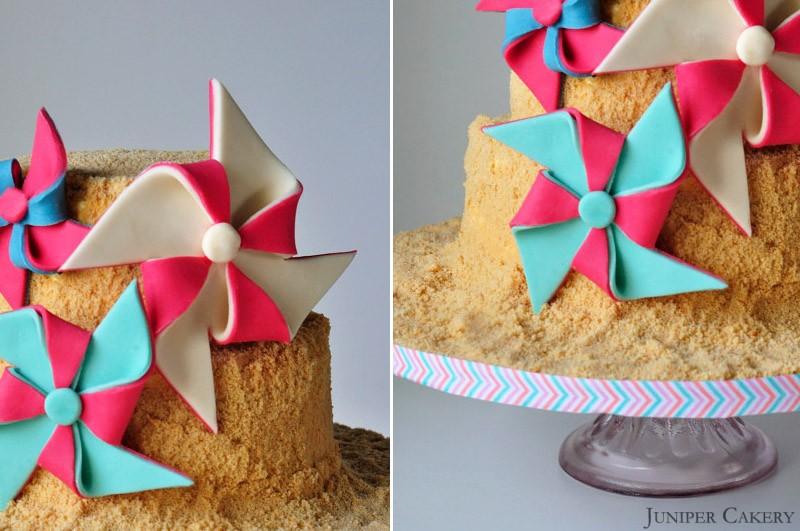 Raspberry Ripple Sandcastle Castle Cake by Juniper Cakery