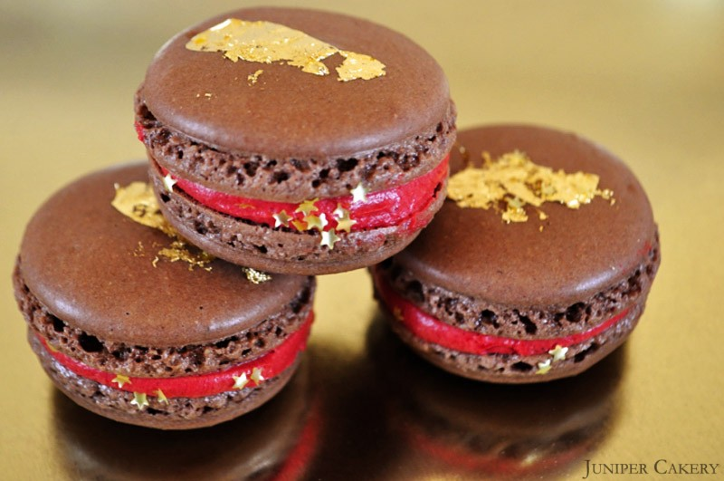 Cranberry, Champagne and Chocolate Macarons