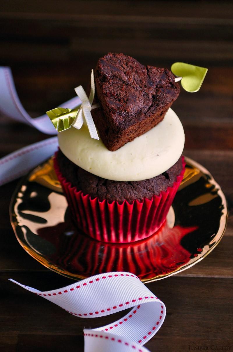 Shot Through The Heart Brownie Cupcake