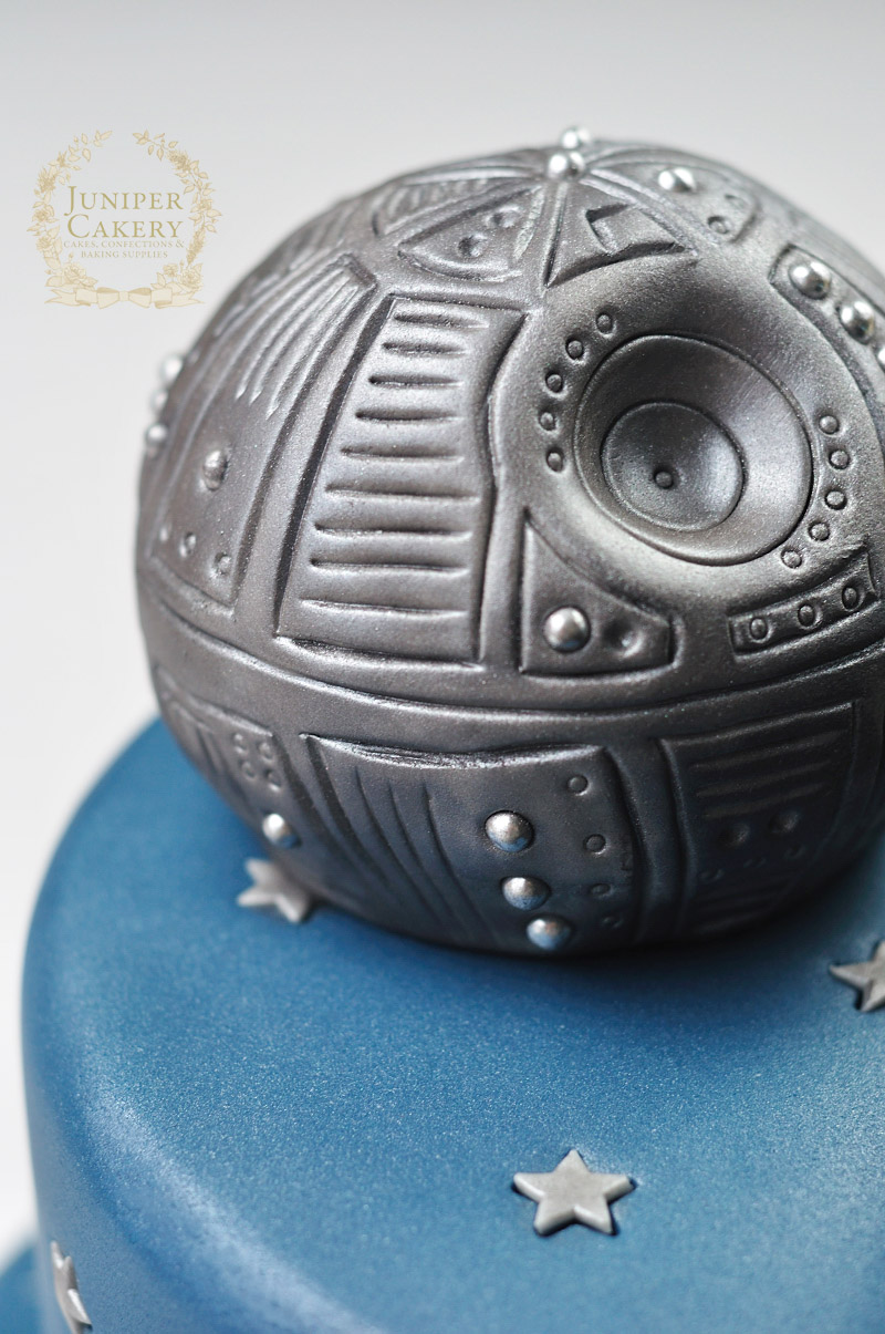 Death Star on Star Wars cake by Juniper Cakery