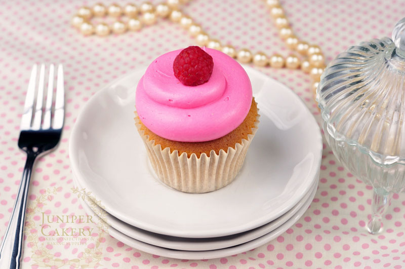 Gorgeous pink raspberry cupcake by Juniper Cakery
