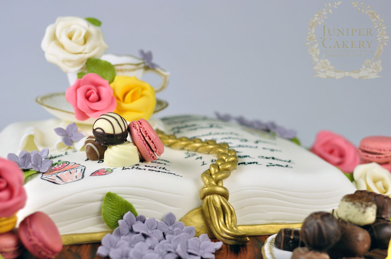Lovely recipe book cake by Juniper Cakery