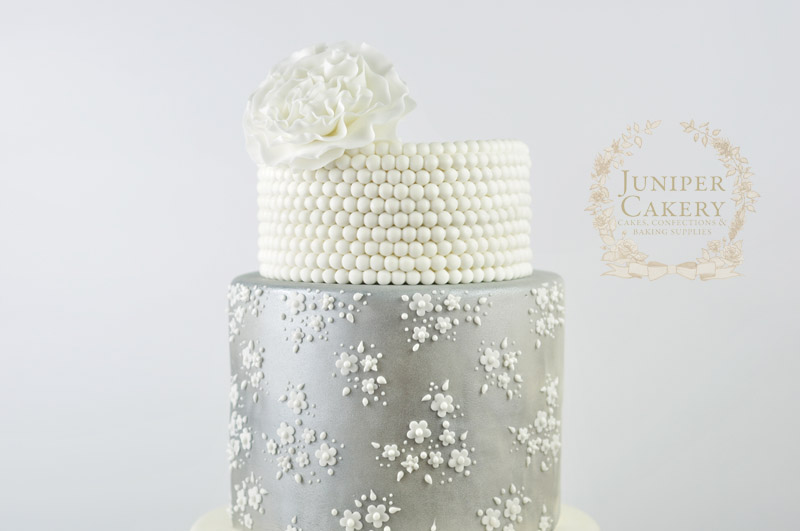 Silver Vintage Lace Wedding Cake