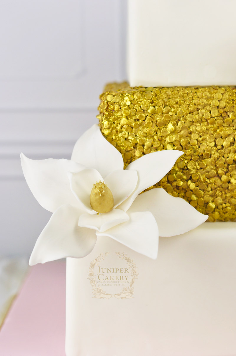 Gold Magnolia Wedding Cake with Sequins by Juniper Cakery