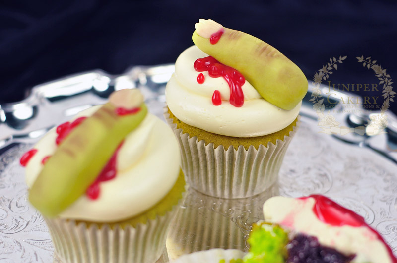Zombie finger cupcakes with edible blood by Juniper Cakery