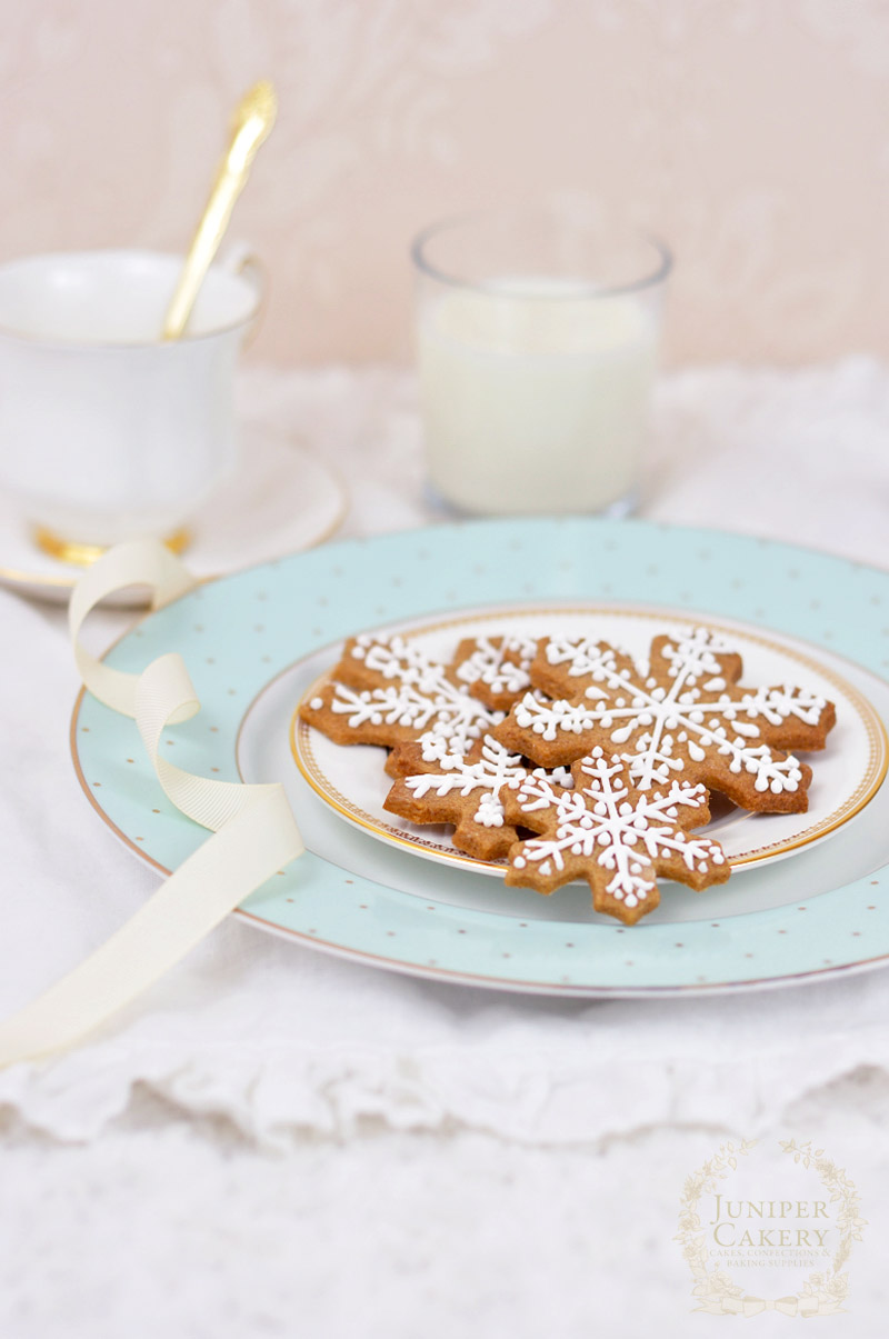 Gingerbread snowflake cookies recipe by Juniper Cakery