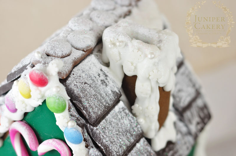Royal icing and candy gingerbread house by Juniper Cakery
