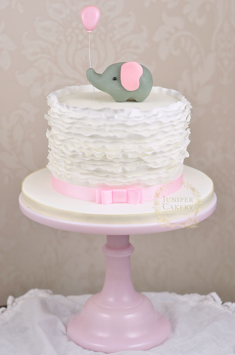 Sweet Ruffle and Elephant Baby Shower Cake by Juniper Cakery
