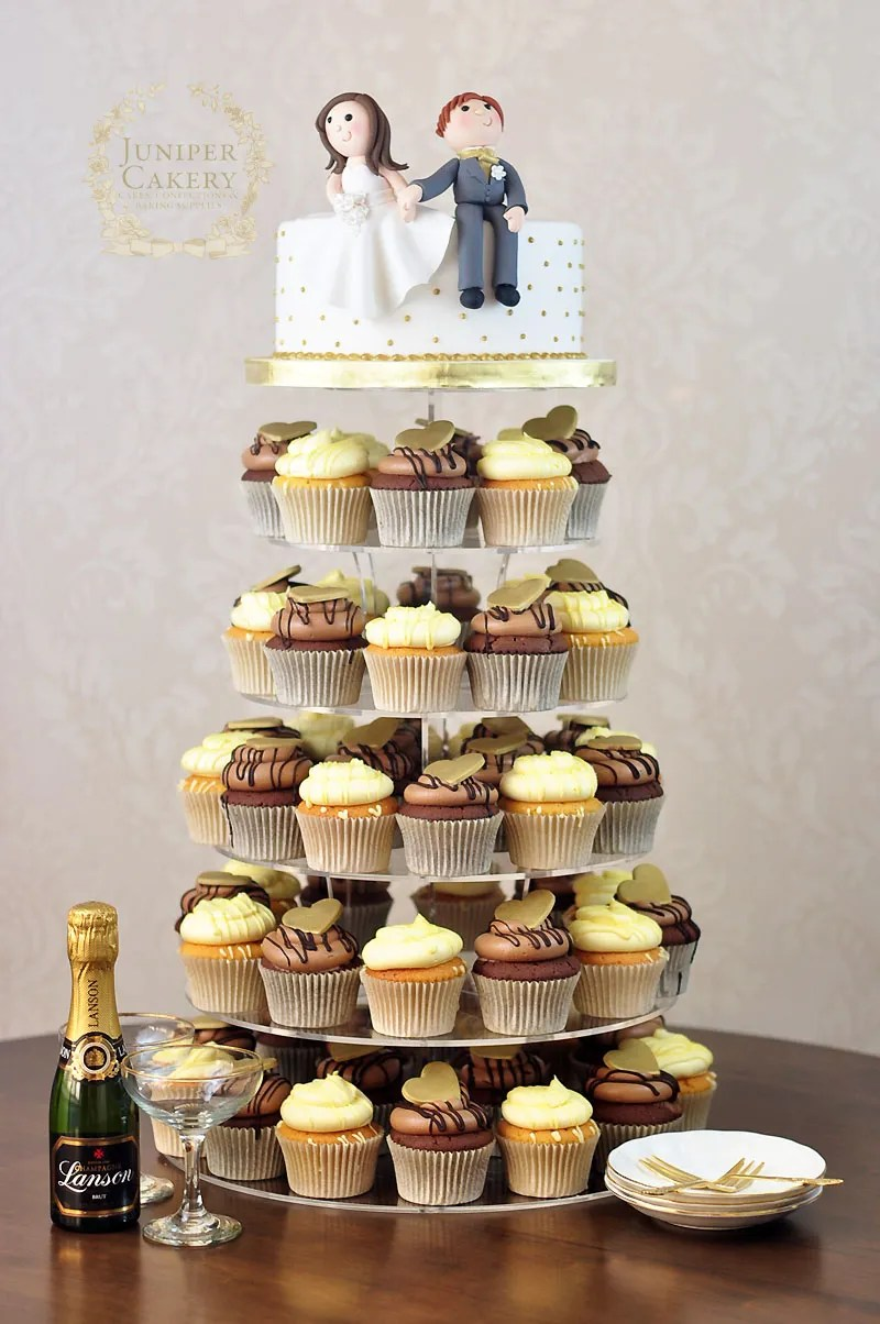 Wedding cupcake tower by Juniper Cakery in Kingston-upon-Hull
