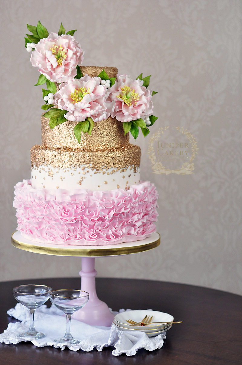 Gold sequin and pink ruffle peony wedding cake by Juniper Cakery