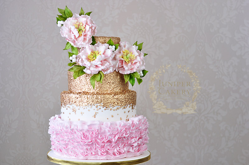 Lovely sweet peony wedding cake by Juniper Cakery