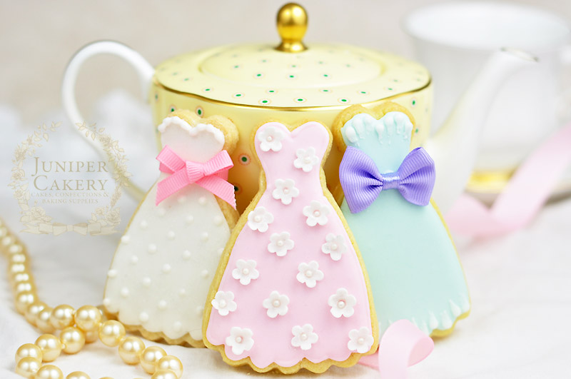 Vintage prom dress bridal shower cookies by Juniper Cakery