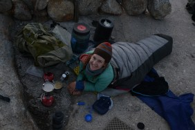 Habit and exhaustion brings Laina straight to her down sleeping bag even when it's not that cold out.