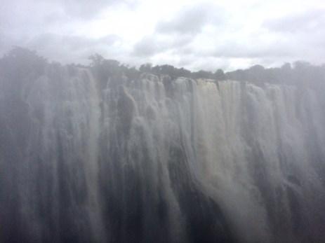 Victoria Falls through the mist.