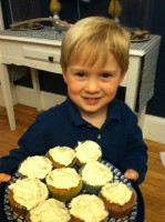 Liam with his cupcakes