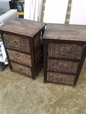 bedside tables with wicker drawers 300