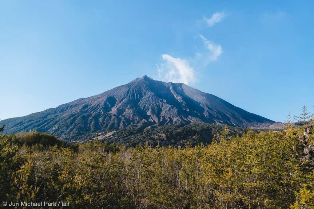 KAGOSHIMA, JAPAN - February 3, 2016: Fumes come out from the Sakurajima volcano. Sakurajima is an active stratovolcano and erupts regularly.