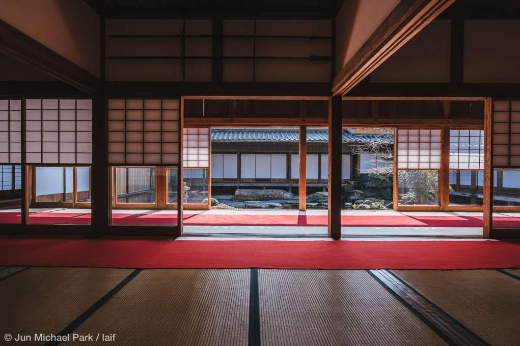 KAGOSHIMA, JAPAN - February 4, 2016: A view of the Shimazu residence Sengan-en Garden, Kagoshima from within. Sengan-en was a stately home and estate of the Shimazu family for more than 350 years and recognized as a UNESCO World Cultural Heritage Site in July, 2015.