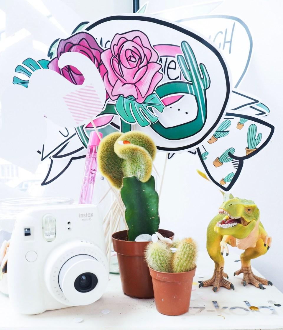 Fotoecke mit Kaktus, Hans-Günther, Fotodeko und Instaxkamera