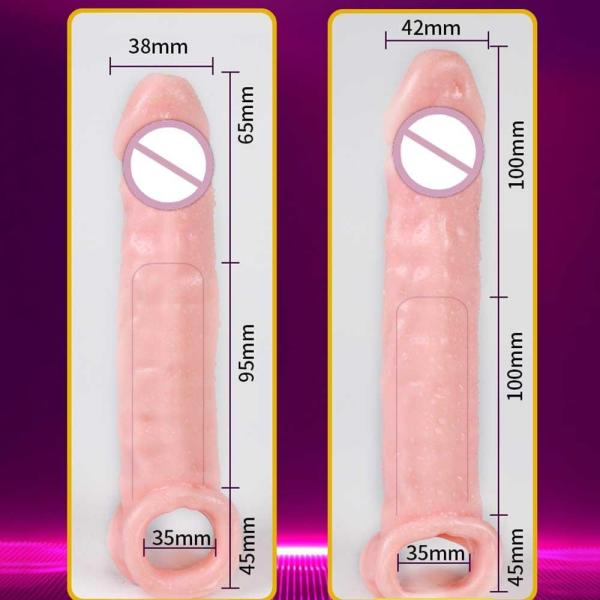 4MB Reusable Thick Condom Silicone Penis Extender Dildo