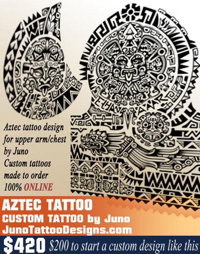 Aztec calendar tattoo, mayan tattoo, mexican tattoo, juno tattoo designs
