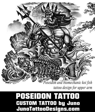 Poseidon tattoo greek mythology tattoo juno tattoo for Custom tattoo armrest for sale