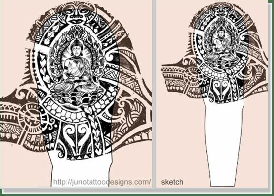 samoan tibetan buddhist tattoo sketch
