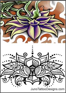 lotus flower tattoo, henna tattoo, flower henna tattoo