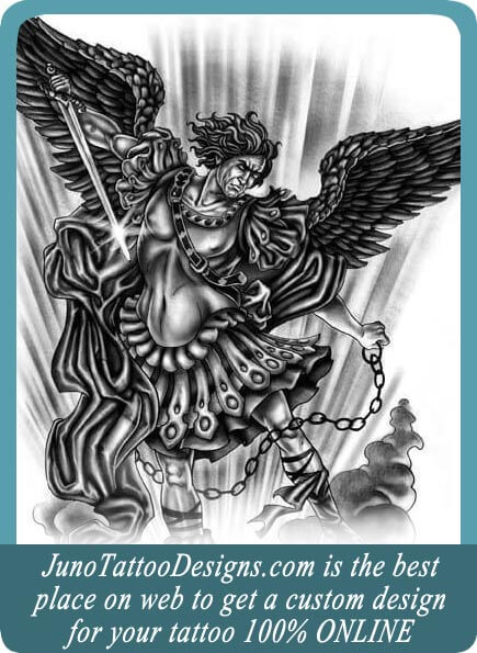 archangel tattoo, angel tattoo, juno tattoo designs, custom tattoo