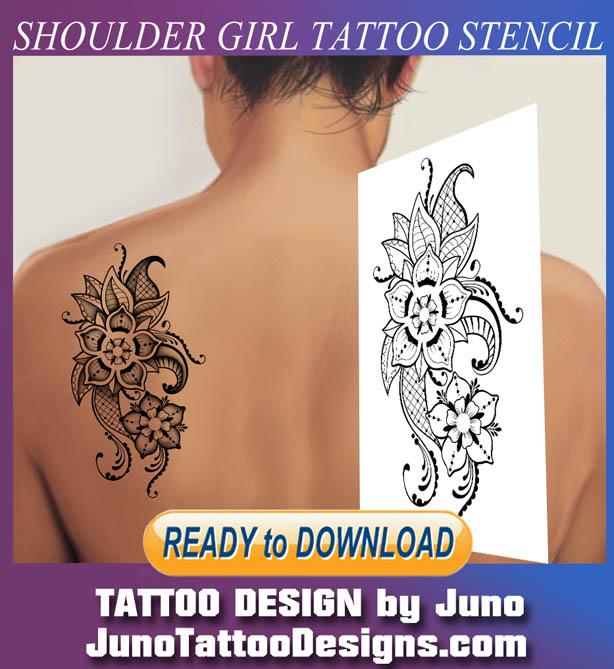 shoulder, girl, tattoo, stencil, template, feminine tattoo
