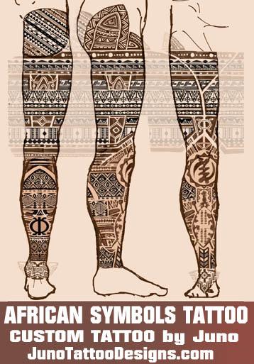 adrican tattoo, polynesian tattoo, custom tattoo design, zulu tattoo, leg tattoo