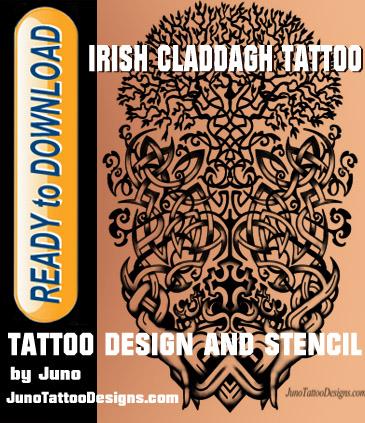 Irish Claddagh tattoo, Celtic tattoo, tattoo template, tree of life tattoo, celtic tree tattoo, tattoo stencil, juno tattoo designs
