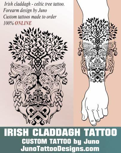 Irish claddagh tattoo, celtic tree tattoo, celtic knots tattoo, juno tattoo designs