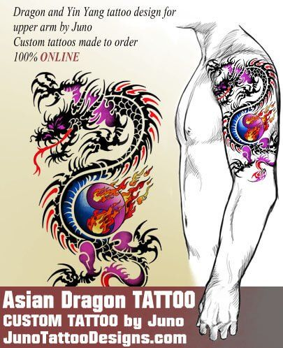 asian dragon tattoo, chinese tattoo, juno tattoo designs