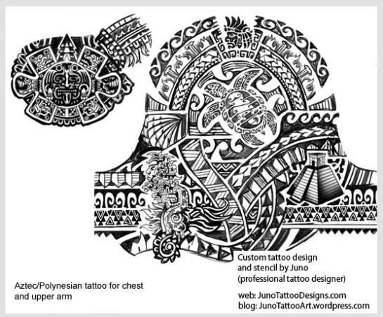 aztec polynesian tattoo, chest tattoo, samoan turtle tattoo