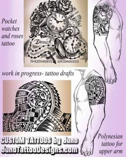 pocketwatches roses tattoo, polynesian tattoo, juno tattoo designs