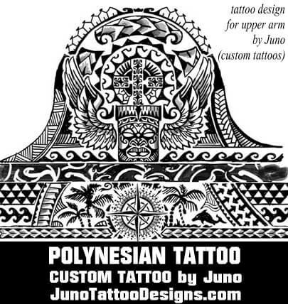 polynesian tattoo, tiki tattoo, compass tattoo, juno tattoo designs