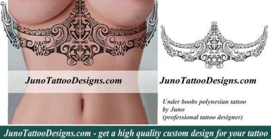 under boobs tattoo, polynesian tattoo, juno tattoo designs