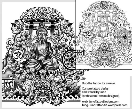 meditating buddha tattoo,tibetan sleeve tattoo,tattoo template