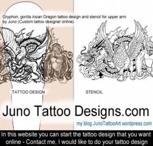 Gryphon gorilla asian dragon tattoo by JunoTattooDesigns