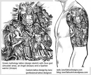 greek mythology tattoo sketch for male arm