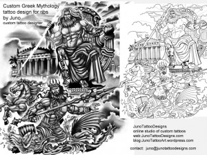 greek-mythology-tattoo-by-juno-custom-Zeus-and-Poseidon-tattoo-stencil-for-ribs